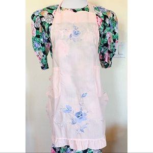 Vintage  Pink Blue Floral Embroidered Bib Apron